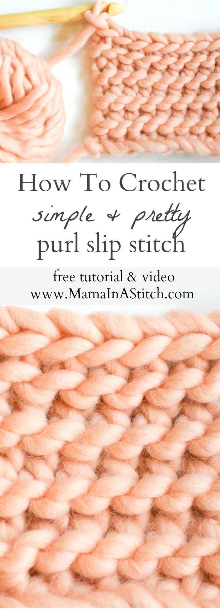Learn A New Crochet Stitch: Purl Slip Stitch (via MamaInAStitch)
