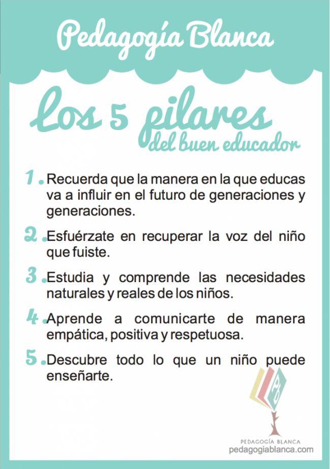 Descárgate el póster en pdf gratis. Los 5 pilares del buen educador. http://www.pedagogiablanca.com/?p=2041
