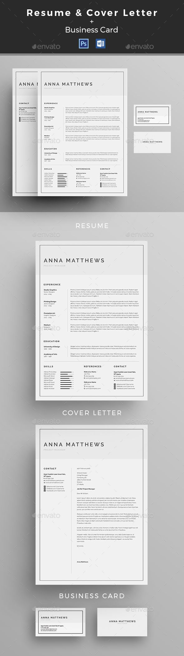 best ideas about cover letter design resume minimal resume cv template psd ms word more