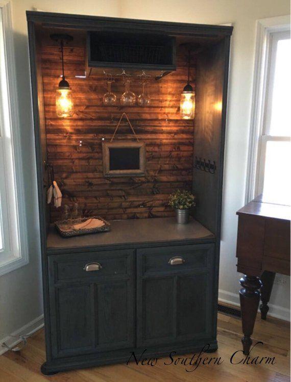 Armoire Bar Cabinet, Coffee Bar Station, Bar, Repurposed Armiore, Wine Bar…Custom Order Today