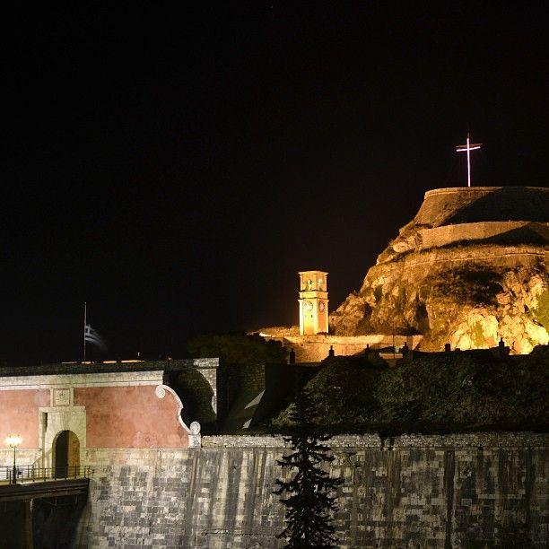 Corfu castle at night