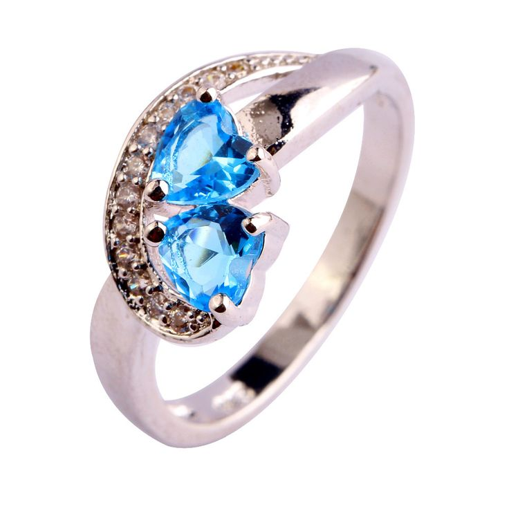 AAA CZ  Fashion Jewelry Handmade Blue CZ Plated Silver Ring Size 6 7 8 9 10 11 Free Shipping Wholesale