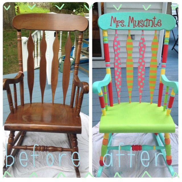 Refinished colorful teacher rocking chair!! Step 1: buy a de-glosser and wipe down all surfaces  Step 2: spray whole chair with a white primer spray paint  Step 3: go to Home Depot and pick out fun colors and have them make you the paint samples of each  Step 4: be creative! Step 5: spray chair with a clear coat of spray paint to seal it all in!