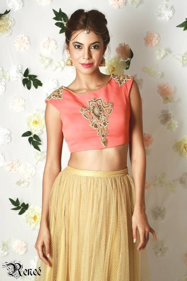 Coral Crop top teamed with gold dotted tutu skirt by Renee label
