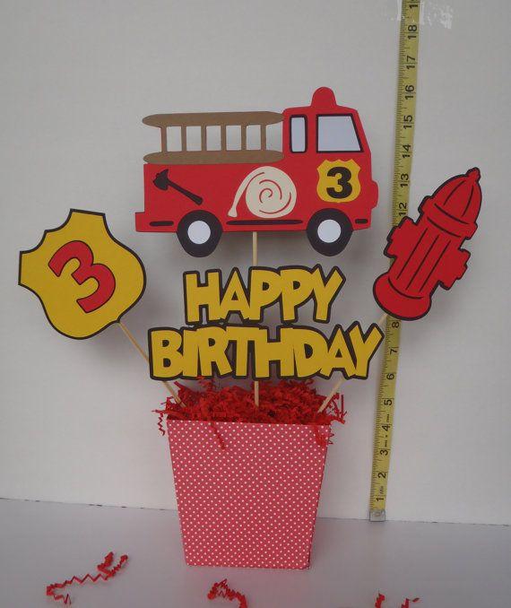 Fuego camión cumpleaños centro de mesa tintas por FeistyFarmersWife