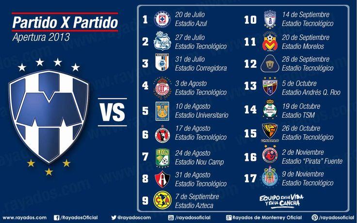 Conoce el calendario #Rayados del Apertura 2013 de la @Liga Zervena Bancomer MX