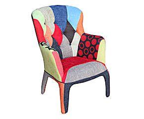 Fauteuil KALEIDOS Bois et tissu, Multicolore - H102