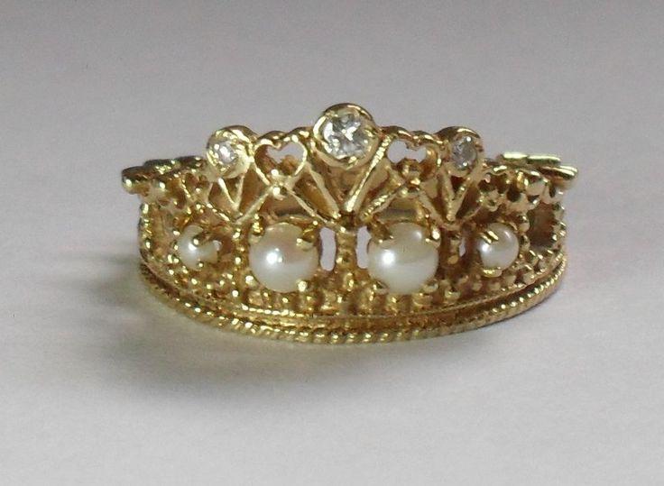 18ct Yellow Gold Stuart Devlin Diamond Pearl Princess Diana Tiara Crown Ring Q