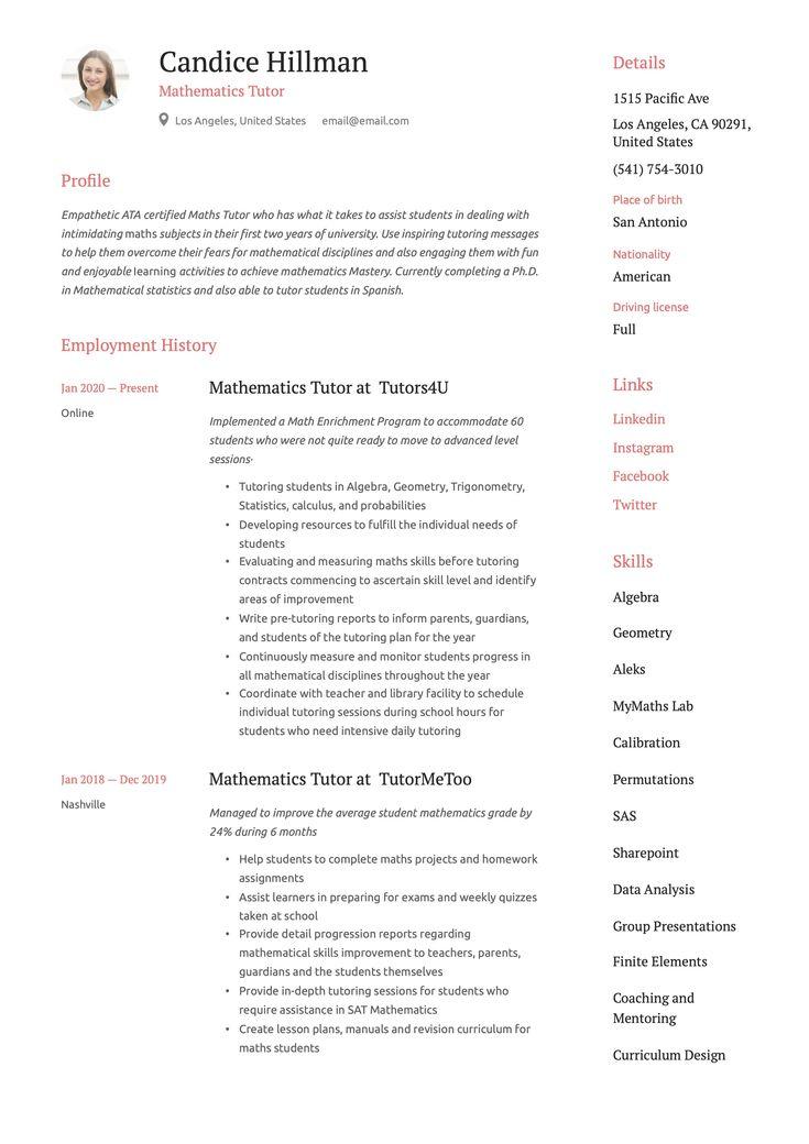 Mathematics tutor resume example teacher resume template