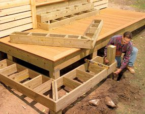 2/2 Build elegant cascading steps Stack boxes for wrap-around steps It's easy to build cascading steps like these if you just build boxes and stack them up. You may have to shim each layer to get the correct rise, but it's still simpler than cutting a bunch of notched stringers