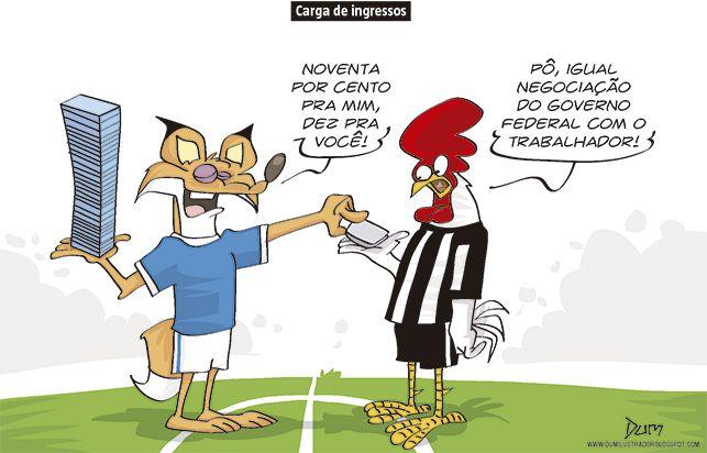 Charge do Dum (Zona do Agrião) sobre clássico entre Cruzeiro e Atlético (31/03/2017)  #Charge #Galo #Atlético #AtléticoMineiro #Cruzeiro #Mineiro #Estadual #CampeonatoMineiro #Clássico #Galo109 #HojeEmDia