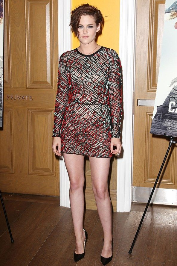 Kristen Stewart wore a dress from the J Mendel spring/summer 2015  collection.