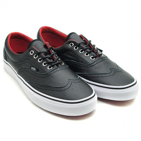 vans era wingtip leather black red