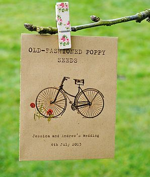 Vintage bike illustrated personalised seed packet wedding favour - Wildflower Favours