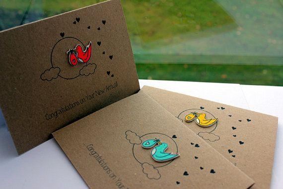 Handmade New Baby Card // Birth by LittleSilverleaf on Etsy, £3.00