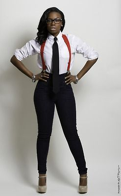 ←how to wear suspenders for women White button up shirt with red suspenders and black tieis absolutely feminine and sexy way to
