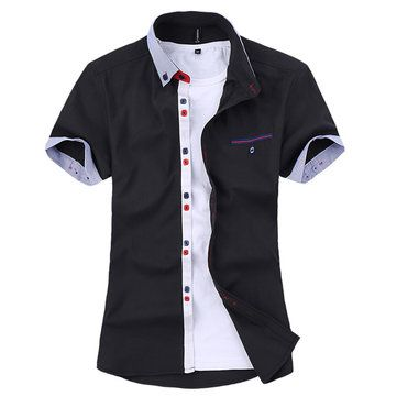 ChArmkpR Mens Stripe Cotton Summer Casual Fashion Spell Color Short Sleeve Dress Shirt