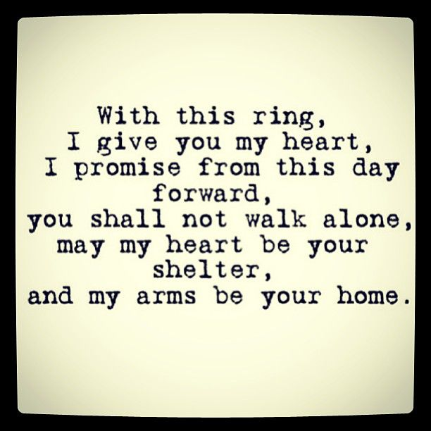 These were our ring vows!