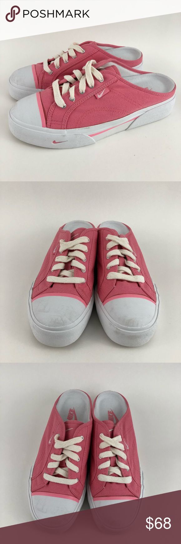 Nike Hermosa, pink old school slip on sneakers Nike hermosa slip on sneakers, mules. Pink with white toe and soles. Rare, old school, early 2000's. Just a couple dirt spots on the white, see pics. Nike Shoes Sneakers