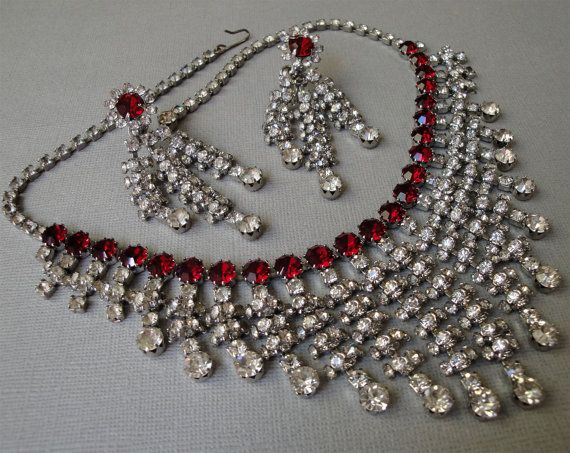 Vintage Rhinestone Necklace Set with Long Earrings by in Red and Clear - Elegant Old Hollywood AlexiBlackwellBridal, $179.00