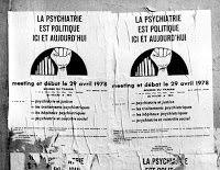 """""""Η ψυχιατρική είναι πολιτική"""" Παρίσι, 1978: Αφίσα-κάλεσμα σε αντιψυχιατρική εκδήλωση."""