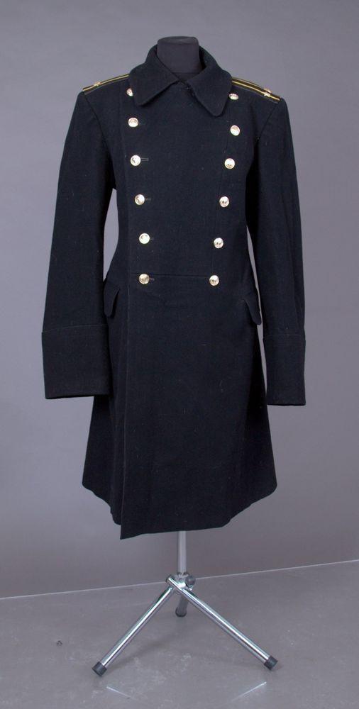 USED USSR Russian Navy Uniform Black Overcoat Wool Coat Goth Steampunk 50-3 L #USSR #Military