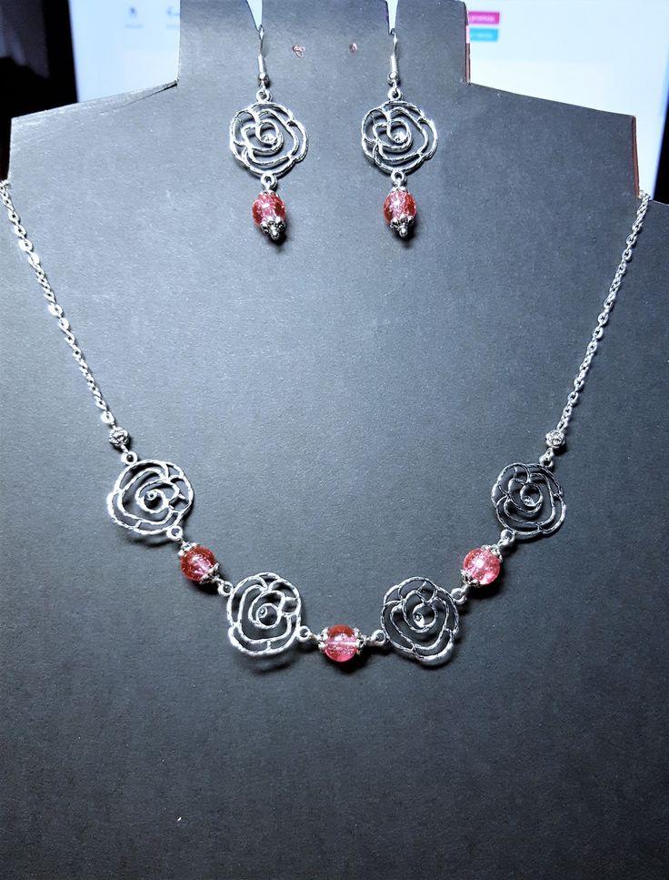 Parure bouquet de roses et perles en verre craquelé rose : Parure par ma-passion-des-bijoux