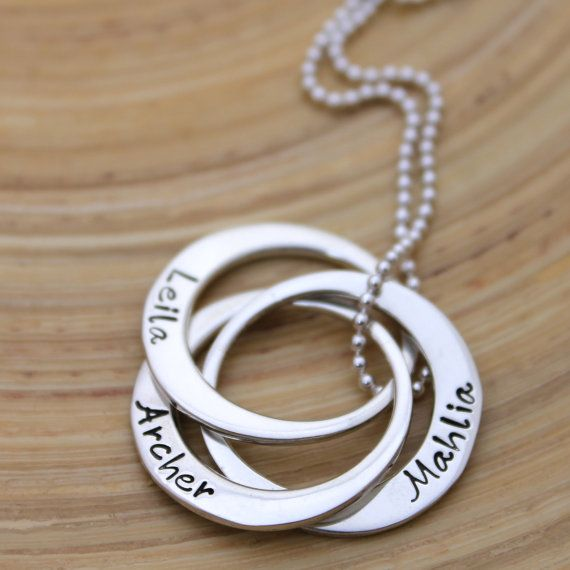 Hand Stamped Personalised Necklace  Russian Rings  by MrsFickle