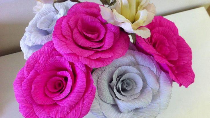 Como hacer flores de papel crepe paper flowers handmade - Videos de como hacer crepes ...
