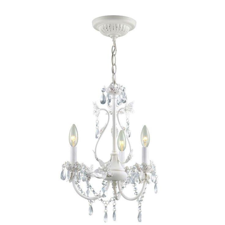 hampton bay kristin 3light antique white hanging mini chandelier - Chandelier Home Depot