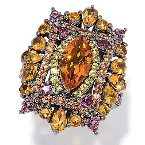 5d4eaf8bb This Art Deco-style shield ring is a burst of gorgeous gemstones with warm  hues! A marquise cut ...