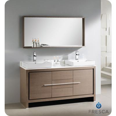 Fresca Allier 60 Inch Gray Oak Modern Double Sink