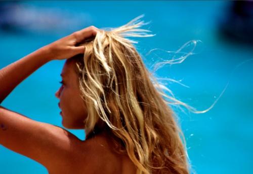 sun bleached hair