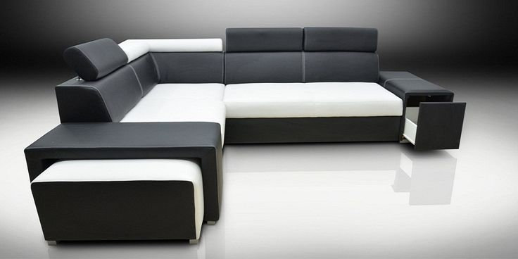 Black and White Corner Sofa Bed