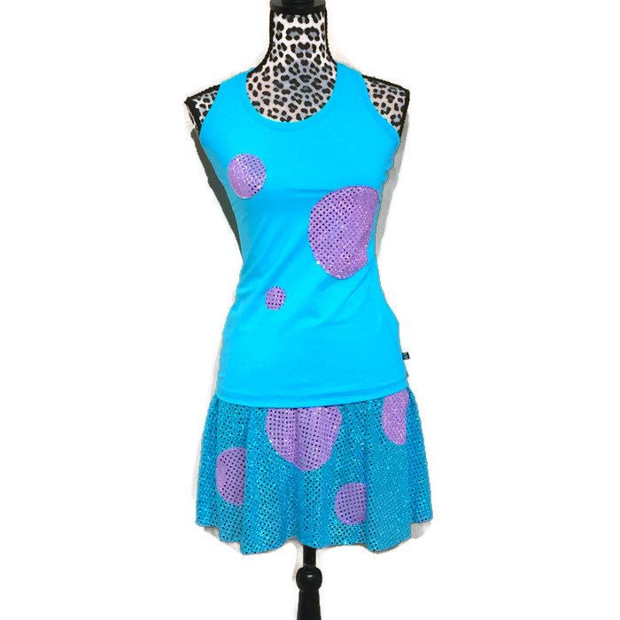 Sully Monsters Inc inspired running costume- shirt  and skirt running costume by RockCitySkirts on Etsy https://www.etsy.com/listing/477615066/sully-monsters-inc-inspired-running