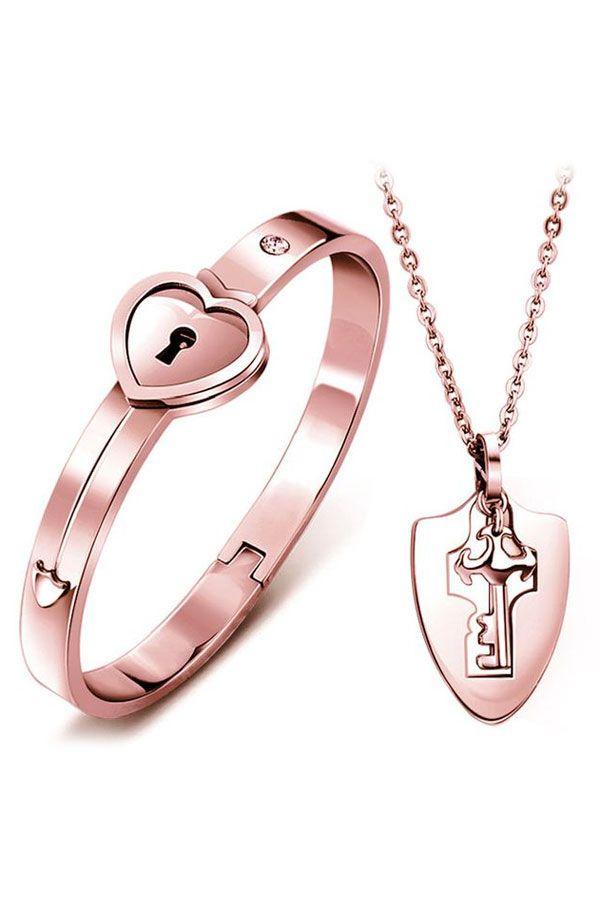 Key to My Heart Bangle & Pendant Set ~ Rose Gold | Knight ...