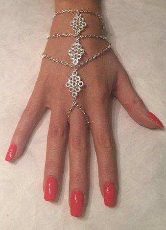 Silber 3 Reihe Diamant Anhänger Handkette / von SinsationJewelry