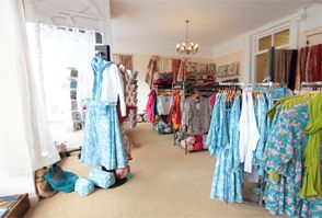 Inside our Wellington Shop - beautiful cotton clothing and fashion accessories.