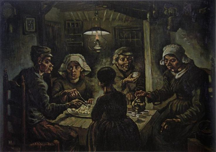The Potato Eaters, Van Gogh's first major work, he wanted to depict peasants as they really were.