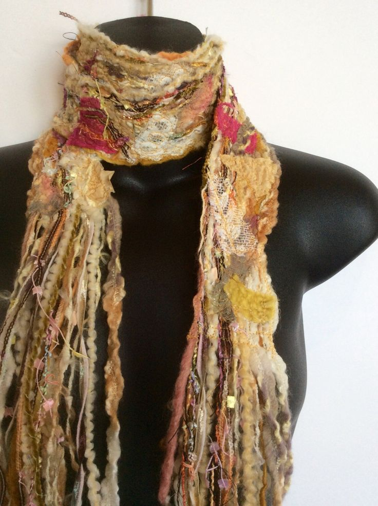 HANDMADE TEXTILE SCARF, New, Just Made in my Studio, Unique Style, Collage Scarf by glasscreektextiles on Etsy