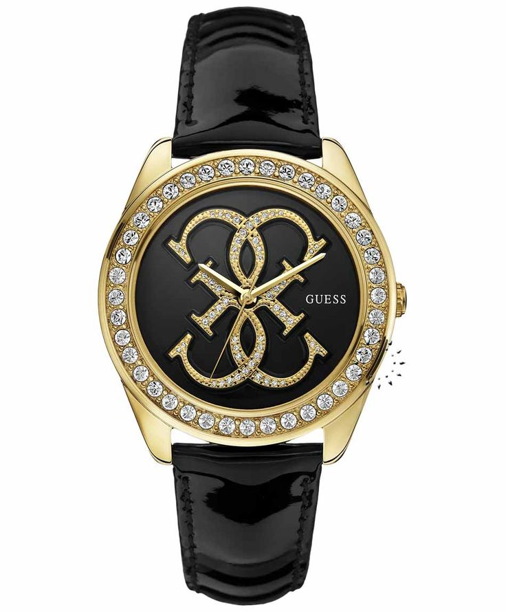 GUESS Crystal Ladies Black Leather Strap Τιμή: 135€ http://www.oroloi.gr/product_info.php?products_id=35130