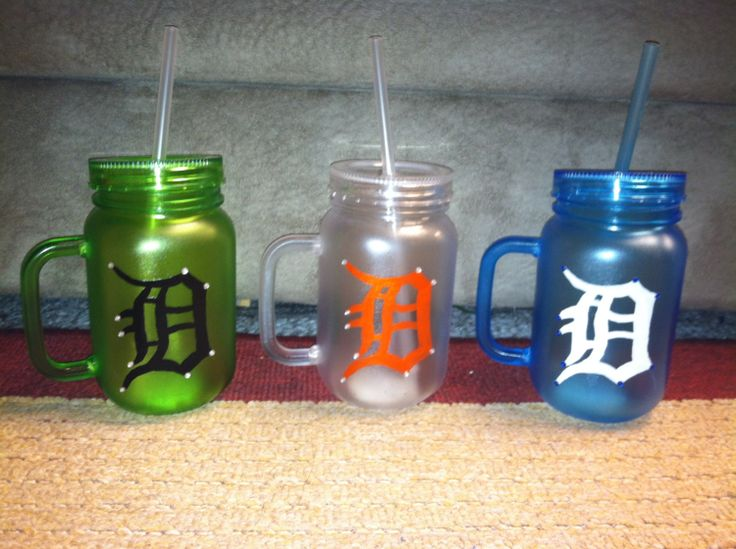 Detroit tigers D plastic mason jar cup with lid by SullysTreasures, $7.00