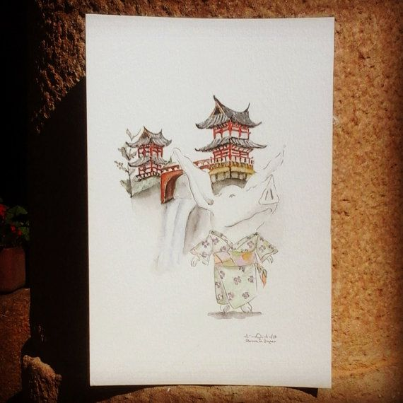 Olivia in Japan / Original in Watercolor / 96 Inches by MAramburo