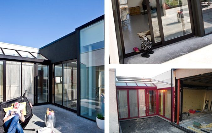 Gevel met geverfde aluminium raamkozijnen