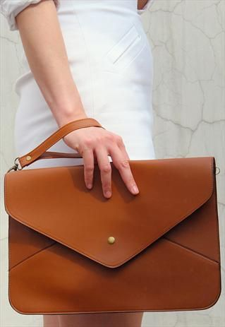 Oversize Vegan Leather Envelope Clutch Purse Bag / Brown from EastWorkshop