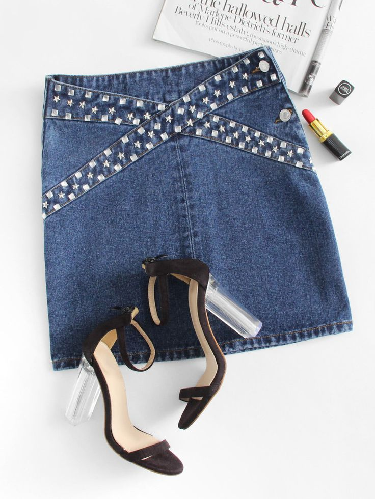 Shop Rhinestone & Studs Panel Denim Skirt online. SheIn offers Rhinestone & Studs Panel Denim Skirt & more to fit your fashionable needs.