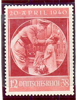 Deutsches Reich, 12+38 pf, 10th April 1940. Hitlers Birthday Stamp   Hitlers 51st Birthday, 20th April 1940. Hitler with Child.