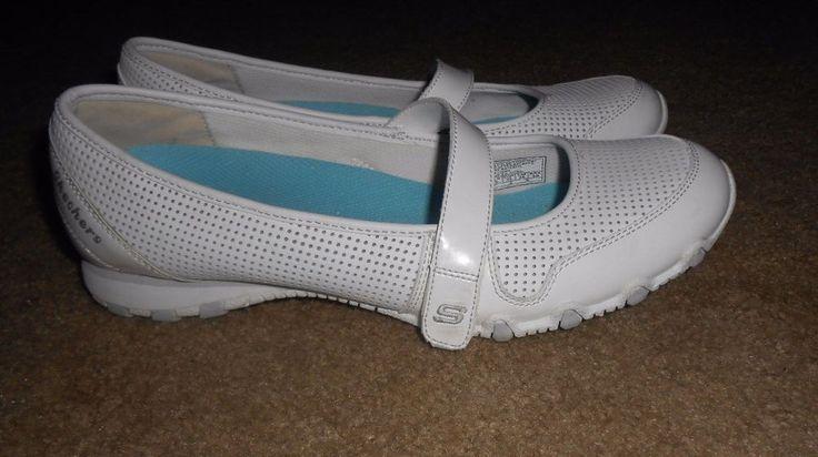Womens SKECHERS White Leather Size 9 Memory Foam Sneakers Shoes Mary Jane Velcro #SKECHERS #WalkingHikingTrail