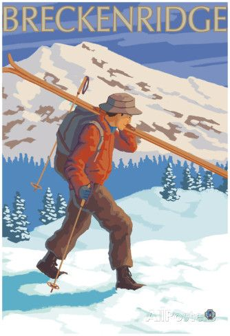 Breckenridge, Colorado, Skier Carrying Skis Posters at AllPosters.com