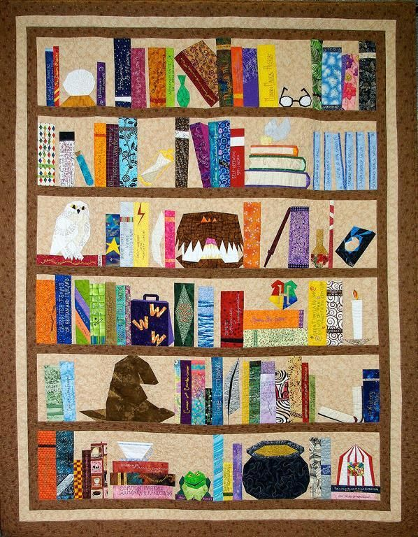 Quilt with Bookshelf Design, Featuring Books, Owl and More
